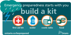 Build a kit: first aid kit, water, crank radio, food.