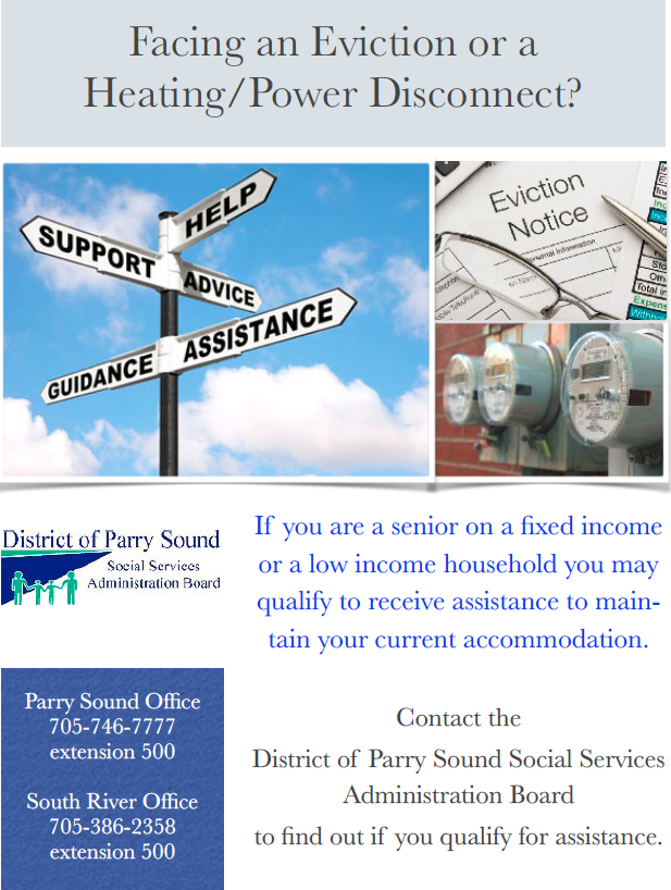 Facing an Eviction or a Heating / Power Disconnect? Contact the District of Parry Sound Social Services Administration Board