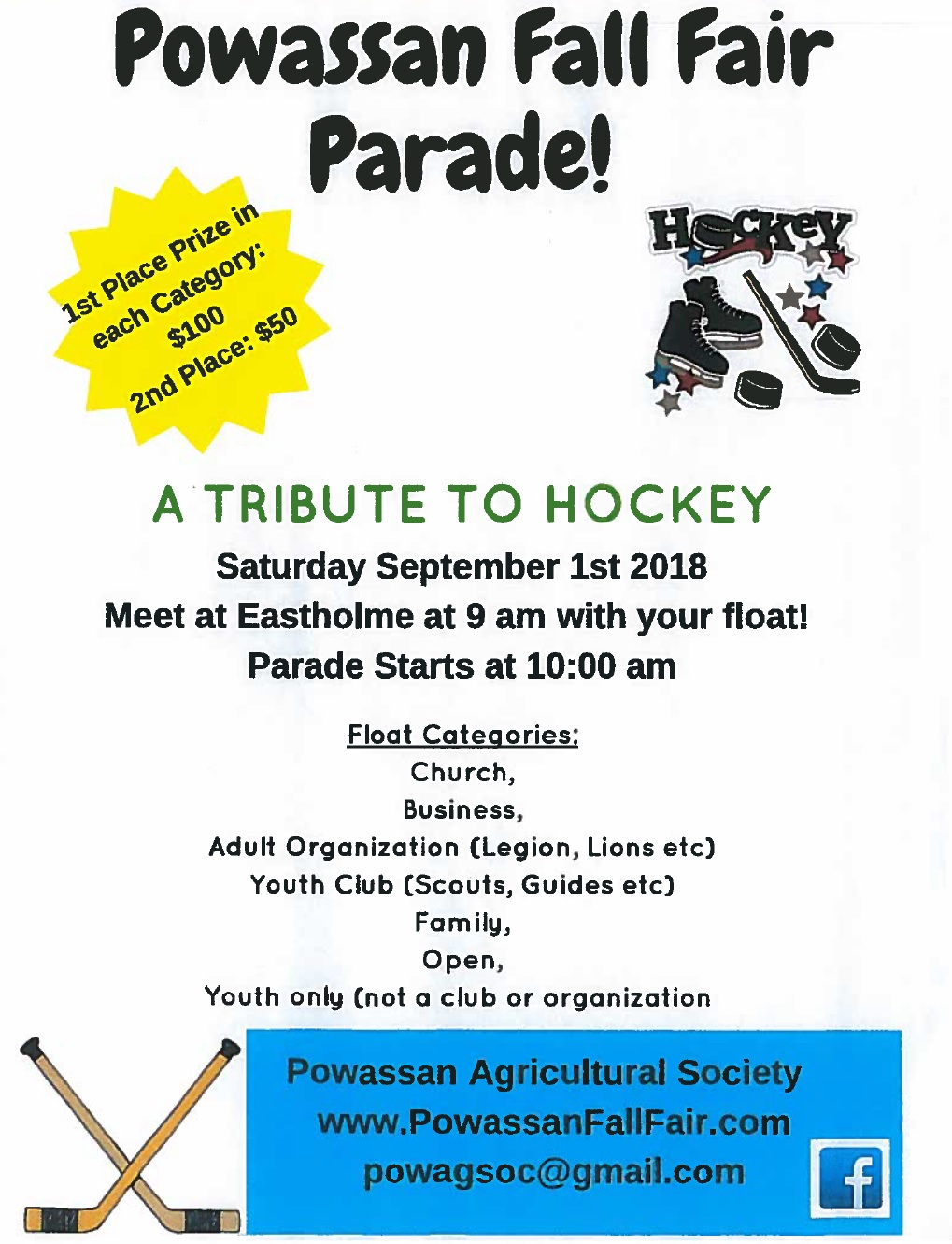 Powassan Fall Fair Parade: Sat. Sept. 1st 2018, 10:00 am. Meet at Eastholme at 9am with your float!