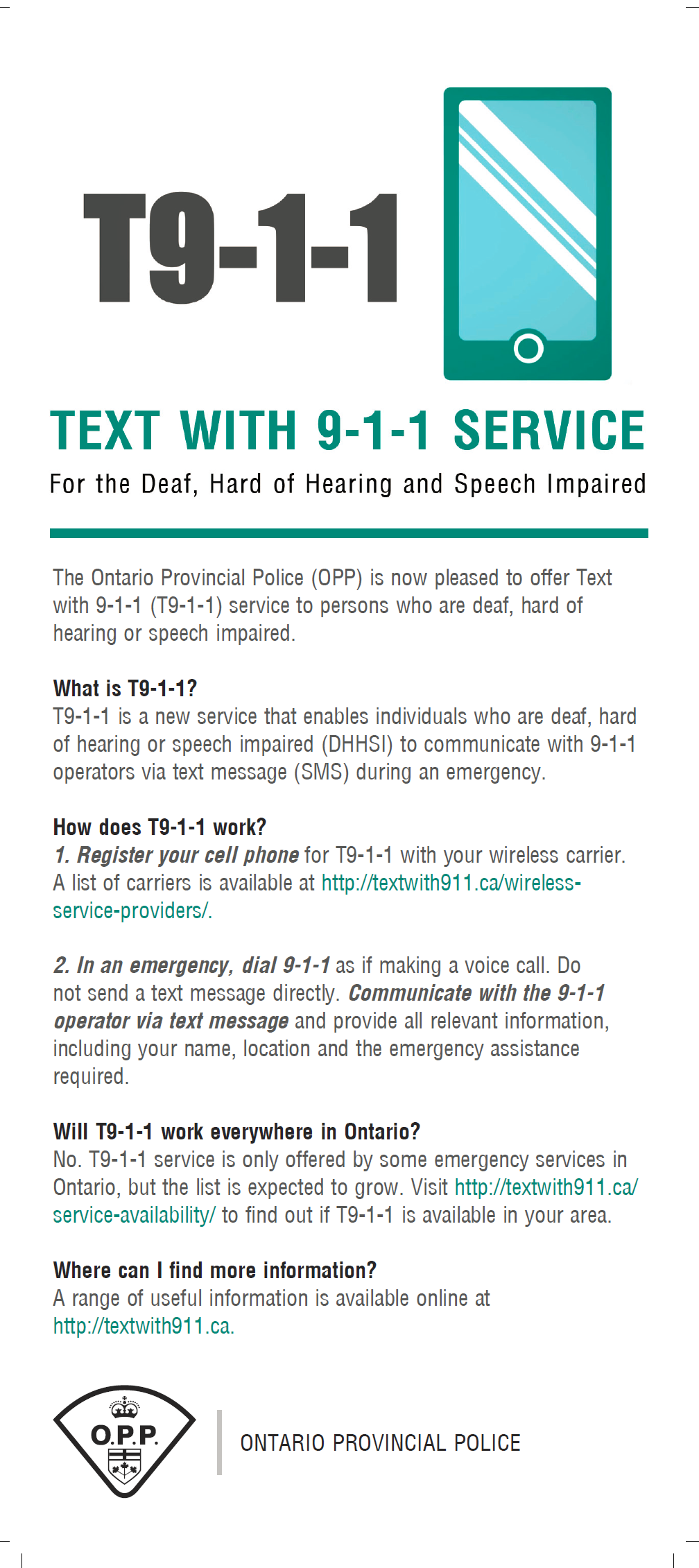 Accessibility Plan: text with 911 service infographic.